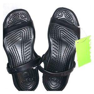 NWT Crocs black  Cleo sandals size 7